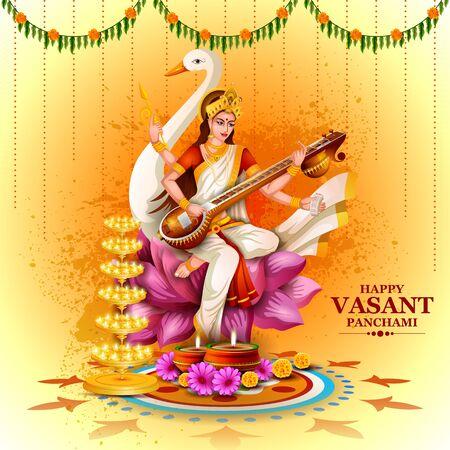 illustration of Goddess Saraswati for Vasant Panchami Puja of India