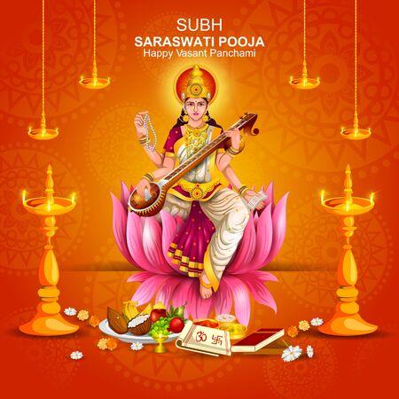 illustration of Goddess Saraswati for Vasant Panchami Puja of India Vettoriali