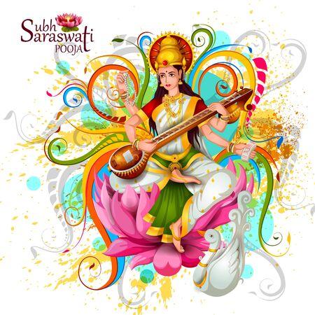 illustration of Goddess Saraswati for Vasant Panchami Puja of India Vector Illustration