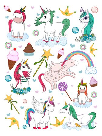 vector illustration of colorful trendy fairy tale unicorn invitation card element for Birthday