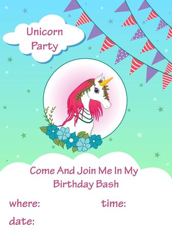 vector illustration of colorful trendy fairy tale unicorn invitation card template background for Birthday Illustration