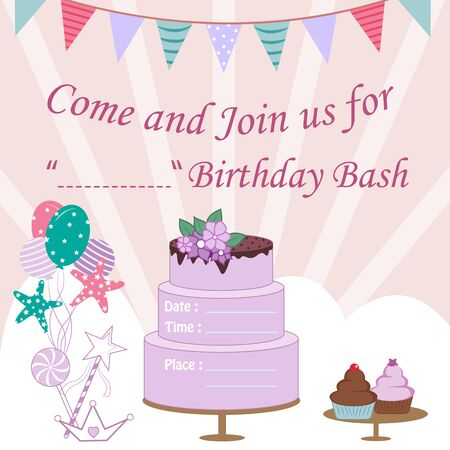 vector illustration of colorful trendy fairy tale unicorn invitation card template background for Birthday 일러스트