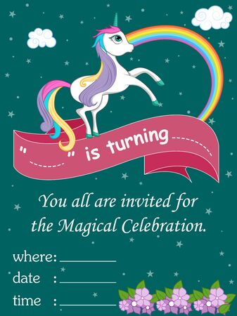 vector illustration of colorful trendy fairy tale unicorn invitation card template background for Birthday 向量圖像
