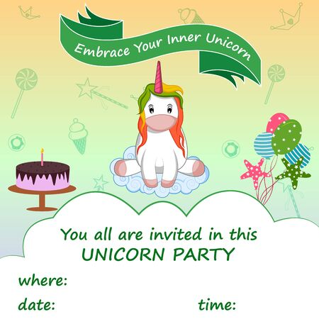 easy to edit vector illustration of colorful trendy fairy tale unicorn invitation card template background for Birthday