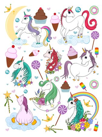 easy to edit vector illustration of colorful trendy fairy tale unicorn invitation card element for Birthday