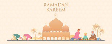 illustration of people celebrating Ramadan Kareem Generous Ramadan of Islam religious holiday festival Eid