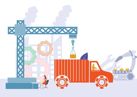 Industrial plant and manufacturing business production or maintenance concept Illustration
