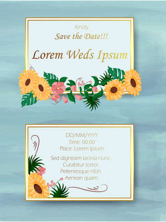 easy to edit vector illustration of floral design wedding invitation greetings card template background