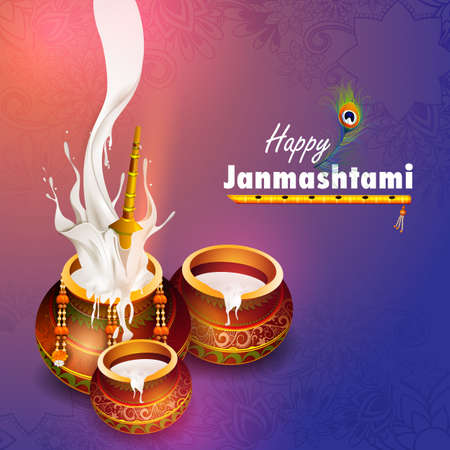 easy to edit vector illustration of Happy Krishna Janmashtami Dahi Handi meaning cream and pot Indian festival celebration background