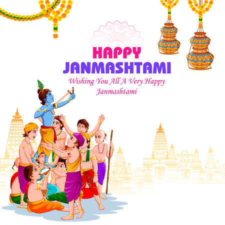 easy to edit vector illustration of Lord Krishna with friends eating makhan cream on Happy Janmashtami holiday Indian festival greeting background Ilustração Vetorial