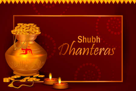 decorated Diwali holiday background with Hindi greetings meaning Happy Dhanteras 矢量图像