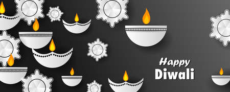 decorated diya for Happy Diwali holiday Hindu festival of India background