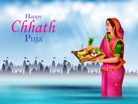 holiday background of traditional Chhath Festival of Bihar, Bengal and Nepal 免版税图像