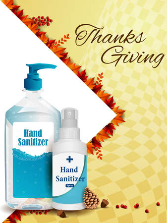 Thanksgiving Harvesting festival background with sanitizer showing precaution from covid 19 corona virus