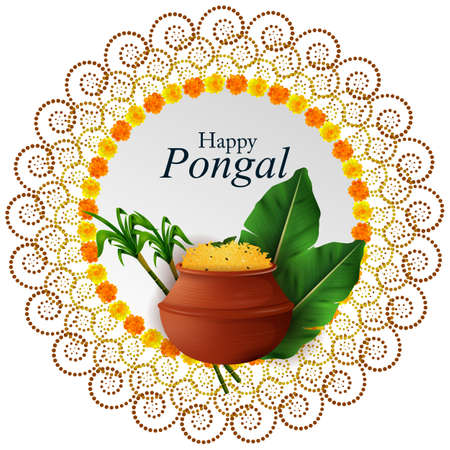 Happy Pongal festival of Tamil Nadu India background