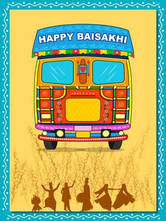 vector illustration of celebration of Punjabi festival Vaisakhi background