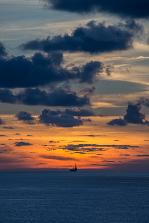 jack up: Jack up oil rig in the ocean at twilight time
