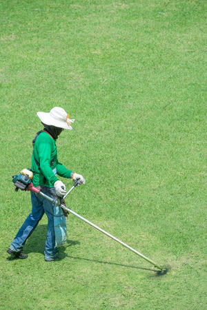 protective equipment: Gardener mowing grass with personnel protective equipment Stock Photo