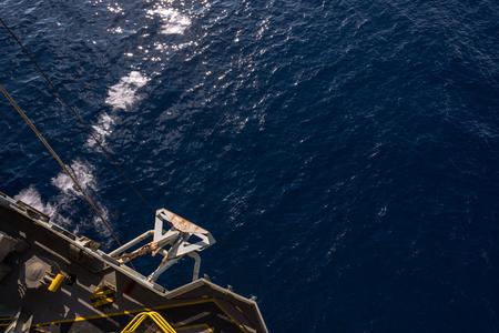 offshore jack up rig: Anchor at port side of jack up oil rig