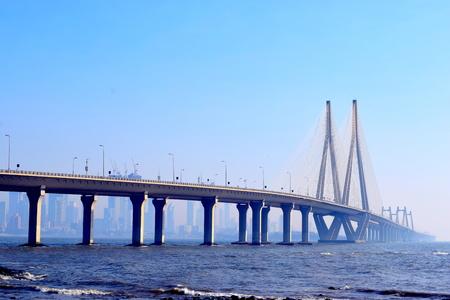 Famous Bandra-Worli Sea Link bridge in Mumbai, India Stock Photo - 97738903