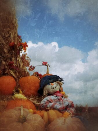 Grunge Fall scarecrow background