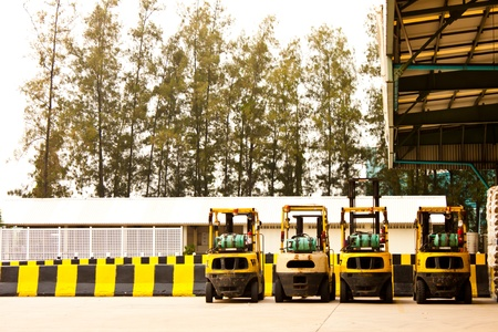 wine stocks: forklifts in factory