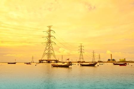 hight tech: power plant sunset background