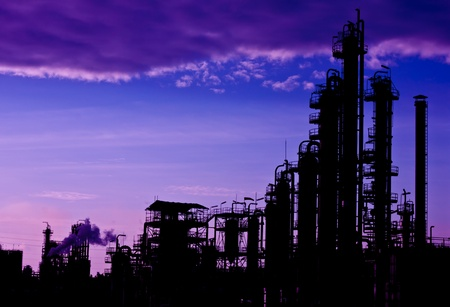 petrochemical plant of silhouette Stock Photo