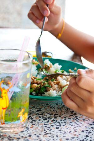 rice and curry (stir basil) thailand photo