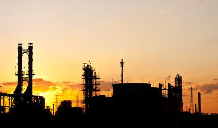 petrochemical plant in silhouette image