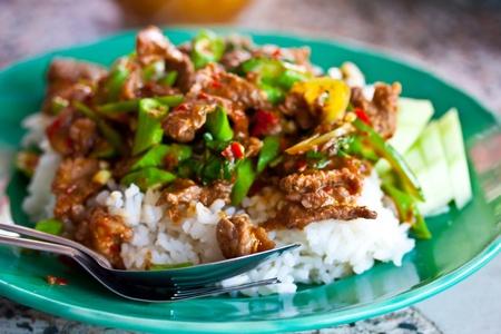 rice and curry (stir basil) thailand