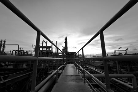 petrochemical plant black and white