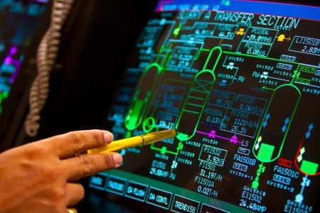 controle paneel in petrochemische fabriek Redactioneel