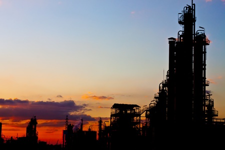 petrochemical plant in silhouette image photo