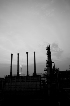petrochemical plant black and white photo