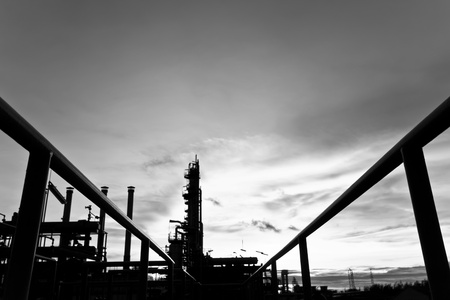 petrochemical plant black and white Stock Photo - 12625498
