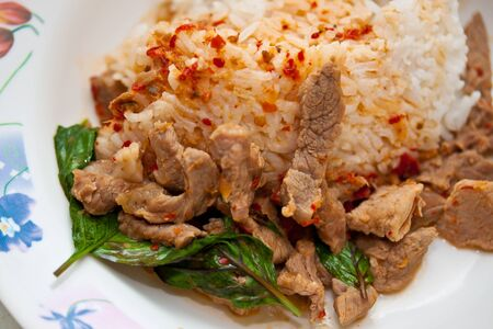 rice and curry  Fried pork with chili paste   thailand photo