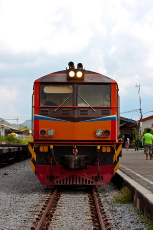 thai old train at station photo