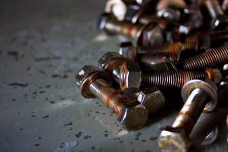old nuts and bolts close-up photo