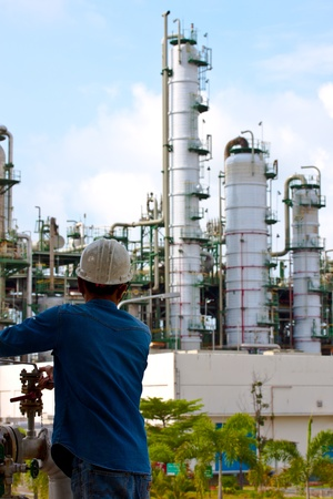 employees are working in petrochemical plant photo