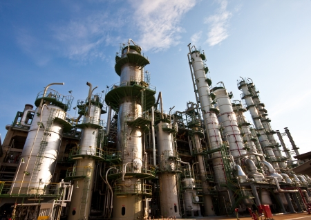 oil refinery: refinery plant in blue sky Stock Photo