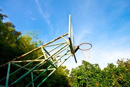 score under: Basketball basket on blue sky background