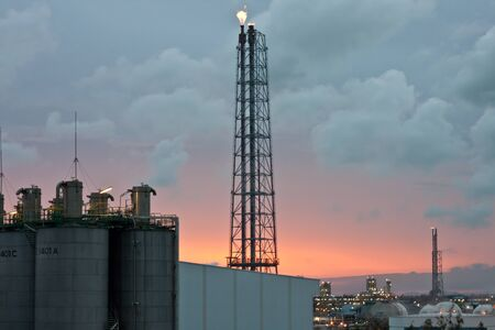petrochemical plant at sunset photo