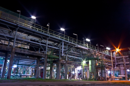 petrochemical plant  at night time Standard-Bild