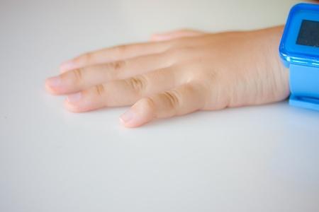 pleading: hand focus Stock Photo