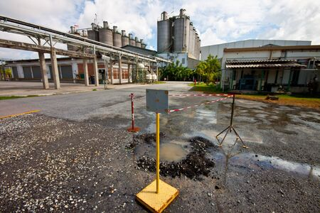waste water  leak in petrochemical Stock Photo