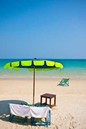 Recline chair on the beach photo