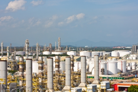 power plant and oil tanks background photo