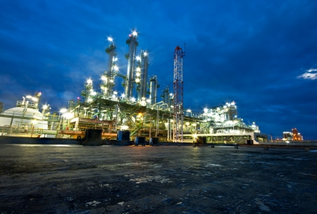 petrochemical plant in night time Stock Photo