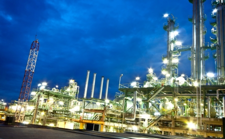 petrochemical plant in night time photo
